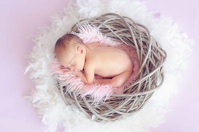 baby sleeping in a nest surrounded by feathers