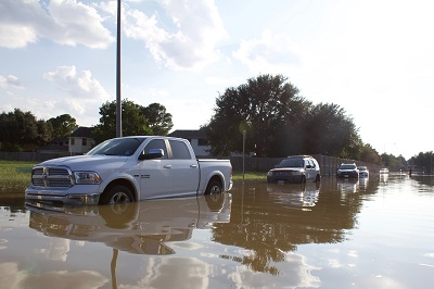 cars in flood water during Hurricane Harvey
